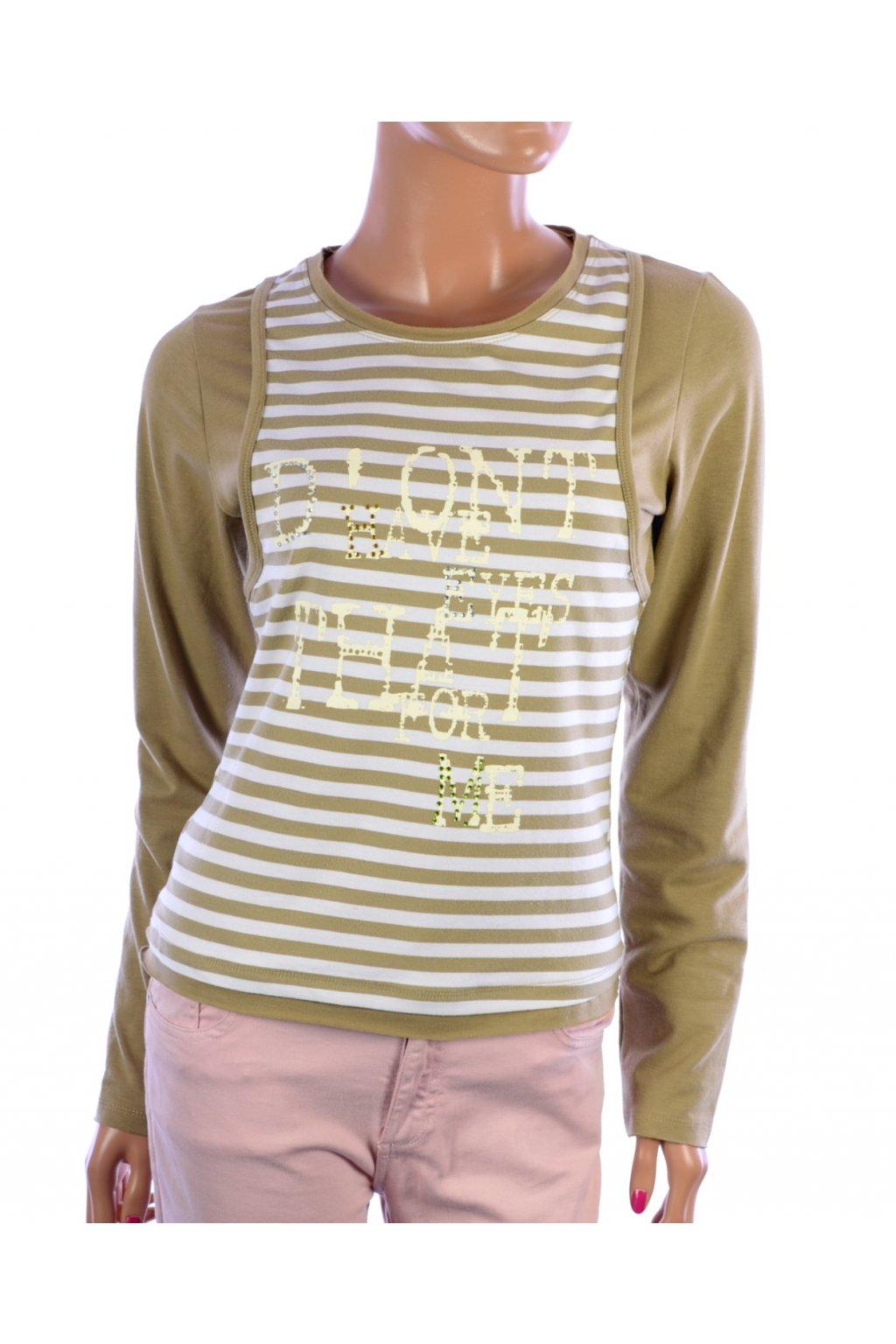 Tričko Aldinova vel S/M hnědo bílé pruhované