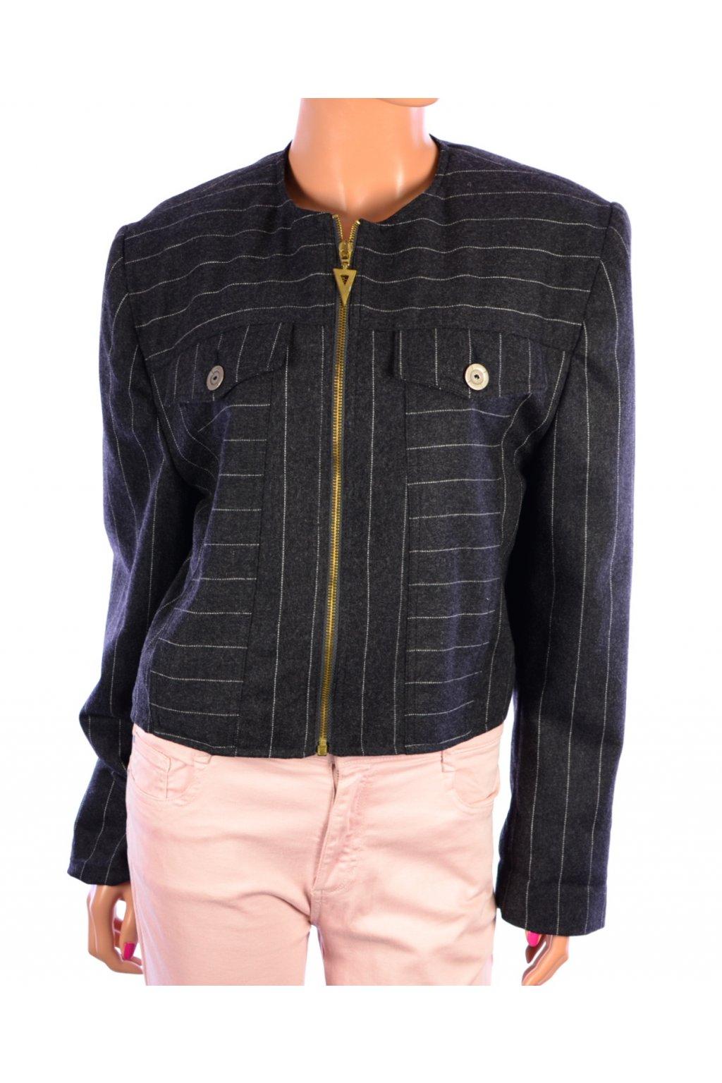 Sako krátký kabátek vel L šedý s proužkem