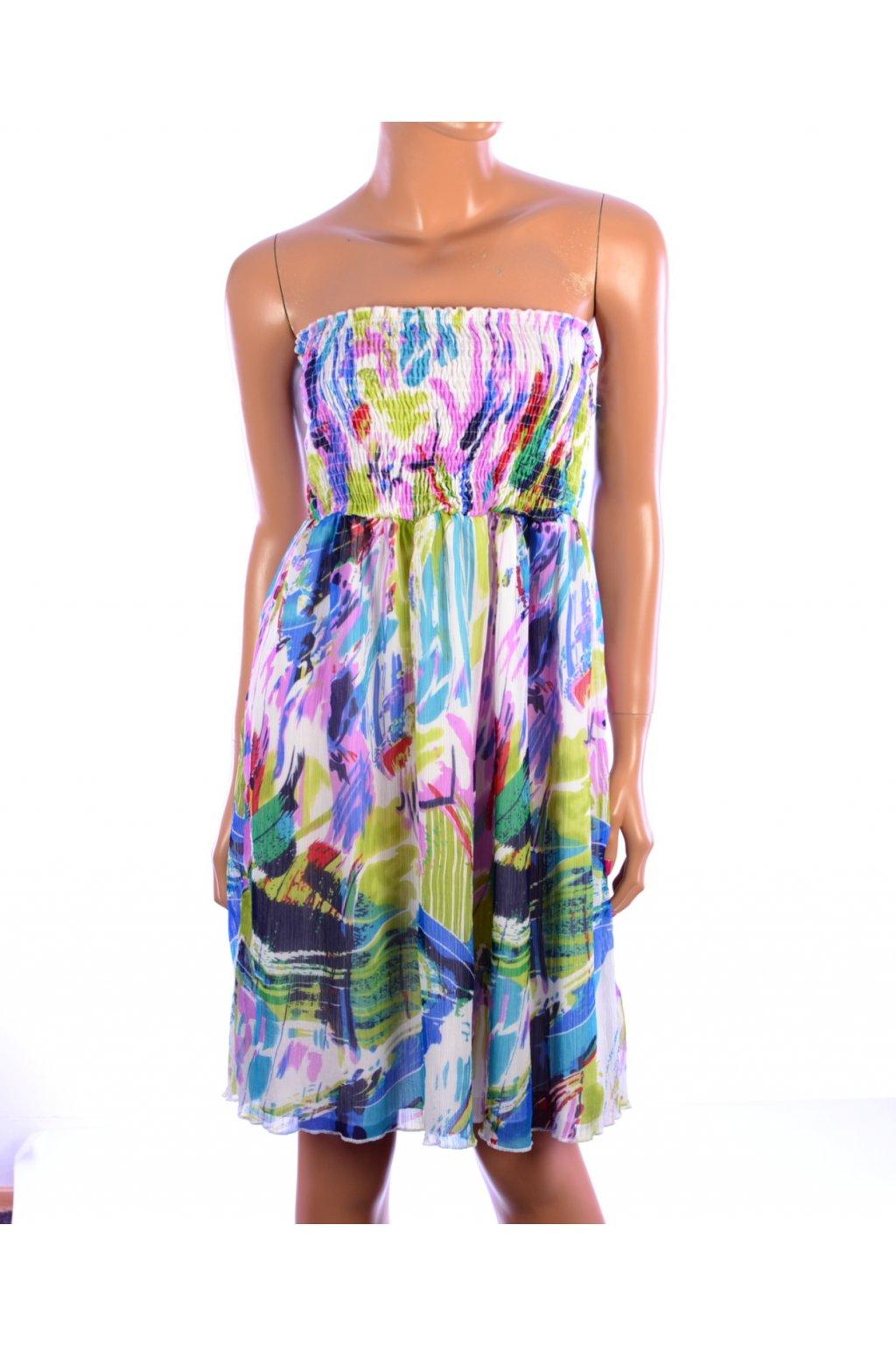 Šaty bez ramínek barevné Jung Stil vel. 36 / S
