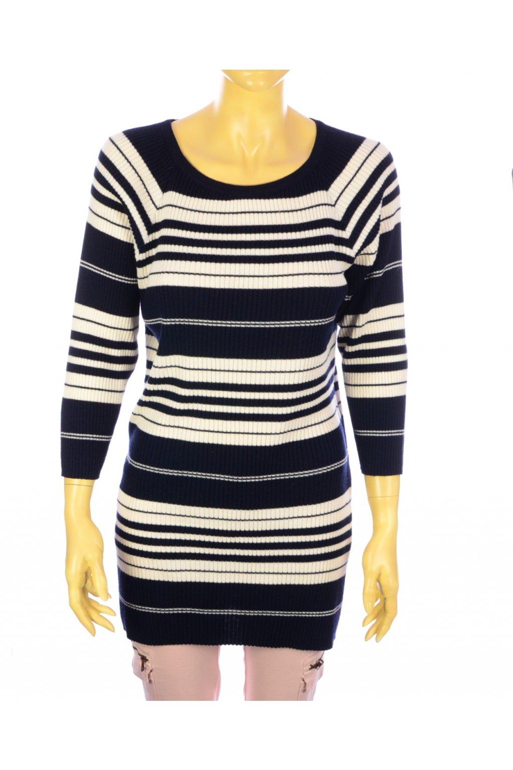 Svetr delší šaty modro-bílé pruhované C&A Incognito vel. 44 / L