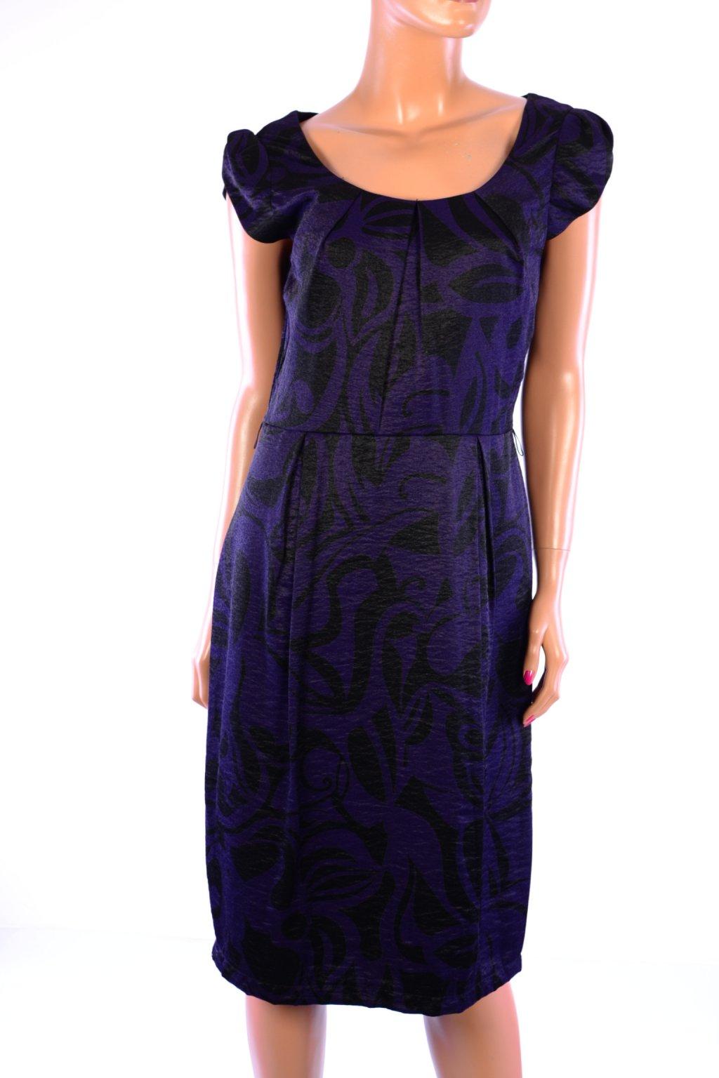 Šaty Marks&Spencer fialové vzorované vel. M / uk 12