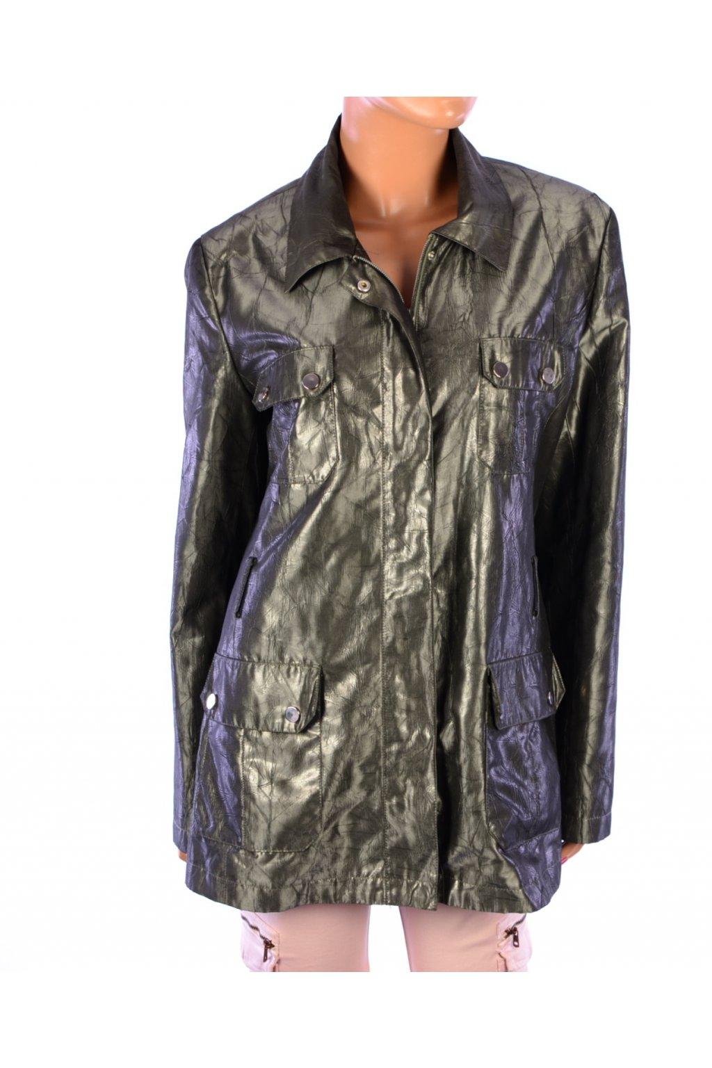 Kabát bunda přechodní zelená lesklá se zvířecím vzorem vel. 42 / M