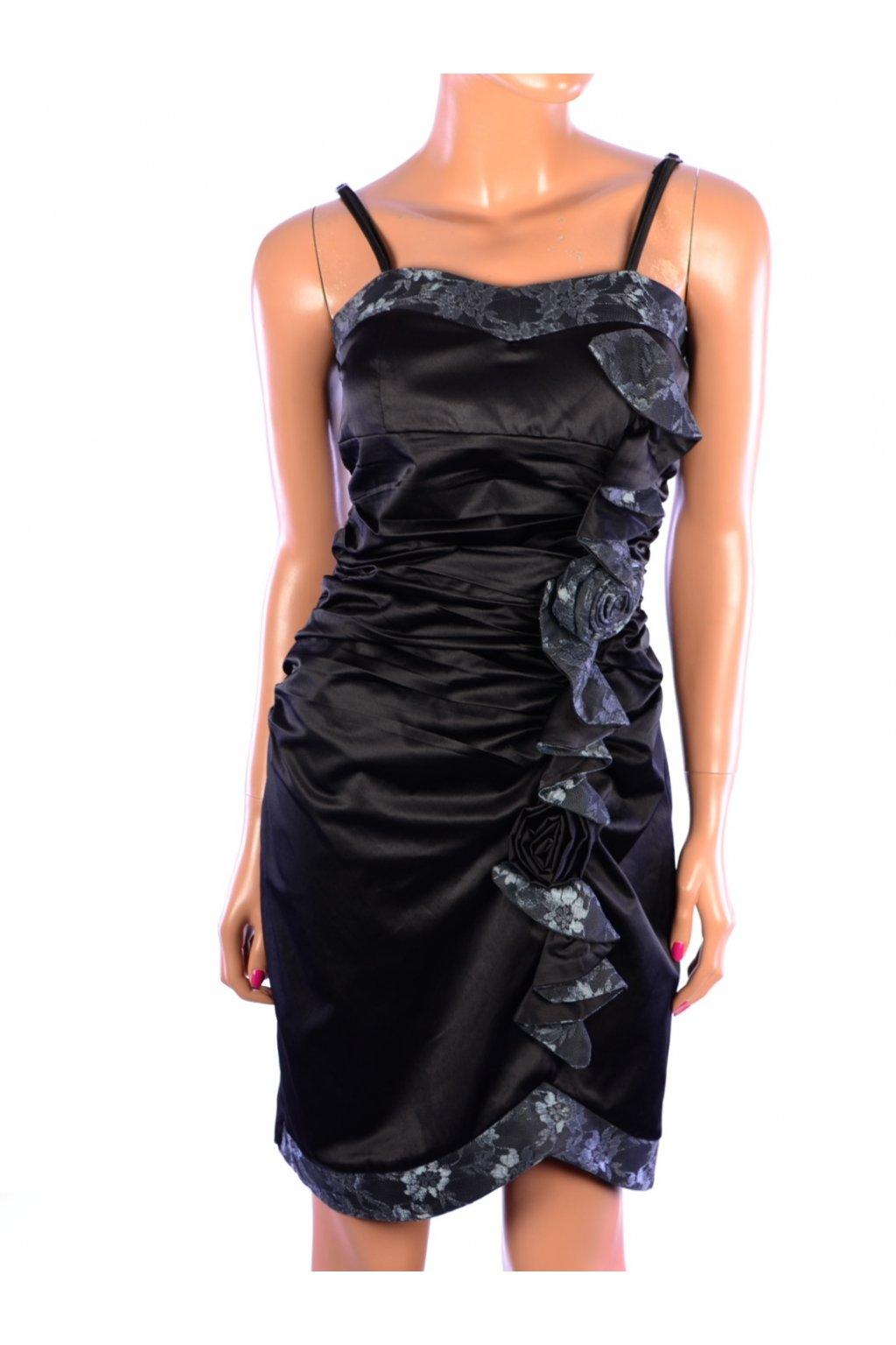 Šaty společenské Creativity černé s krajkou a růží vel. 40 / M