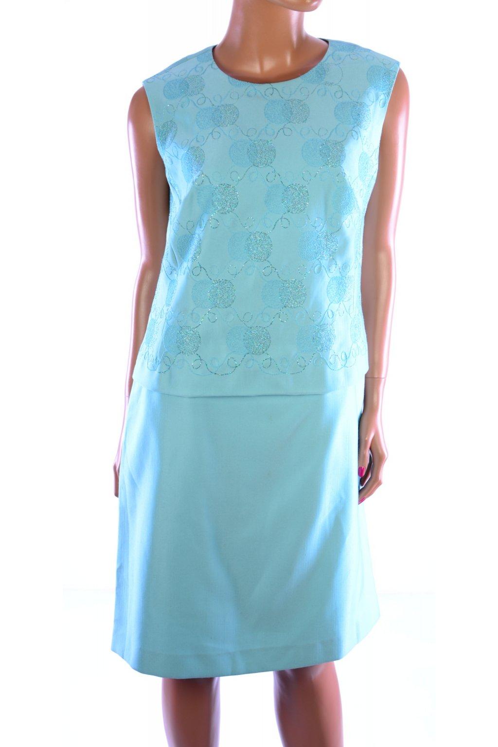 Šaty modré společenské Trevira vel. M - L