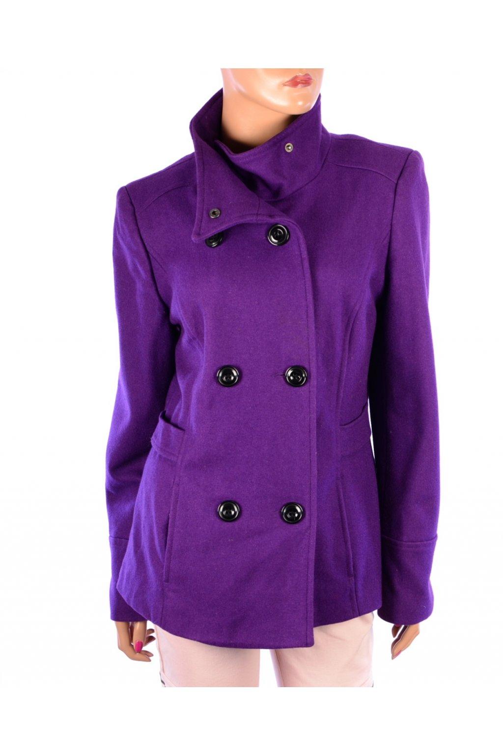 Kabát George podzim zima fialový 60% vlna vel. 42 / uk 12 / M