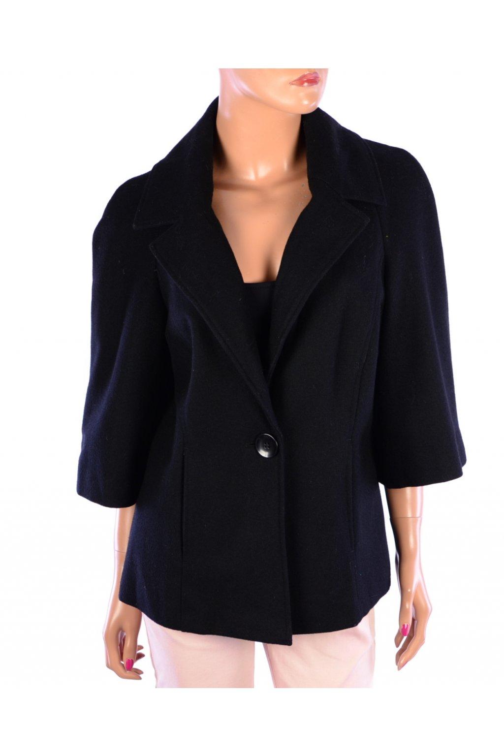 Kabátek černý lehký Vivien Caron vel. 40 / uk 14 / M 65% vlna
