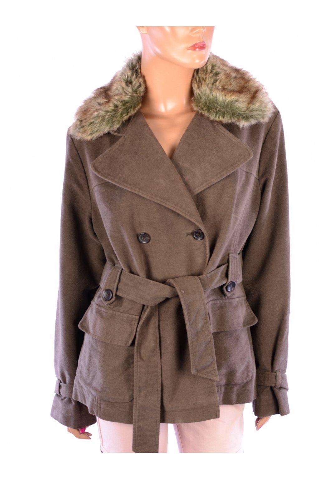 Kabát přechodní s kožíškem hnědý Marks&Spencer vel. 14 / M