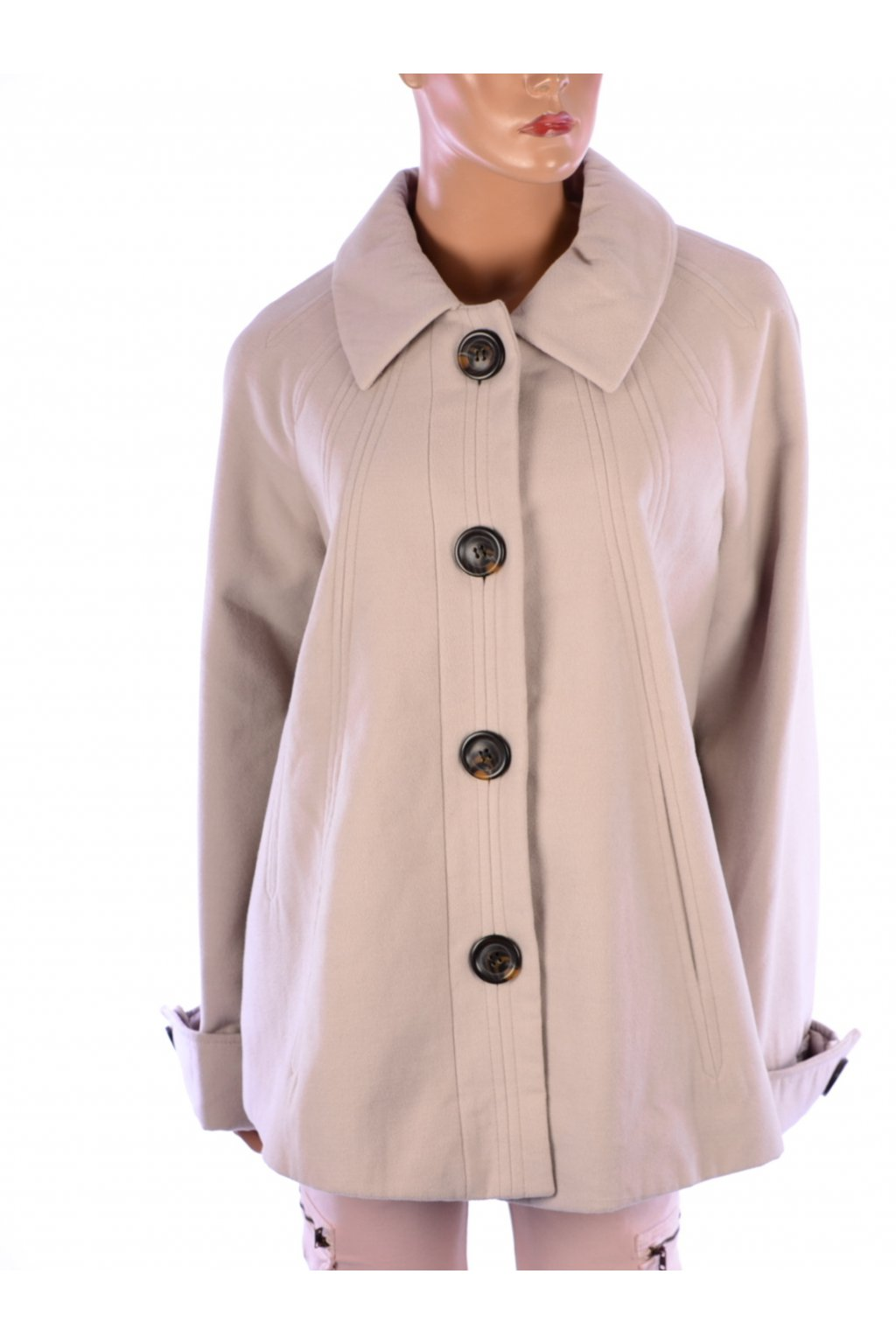 Kabát béžový Classics podzim zima vel. L - XL / uk 18