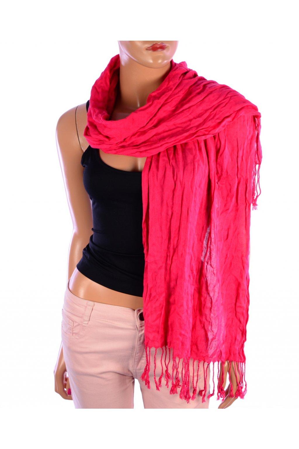 Šátek zimní tmavě růžový