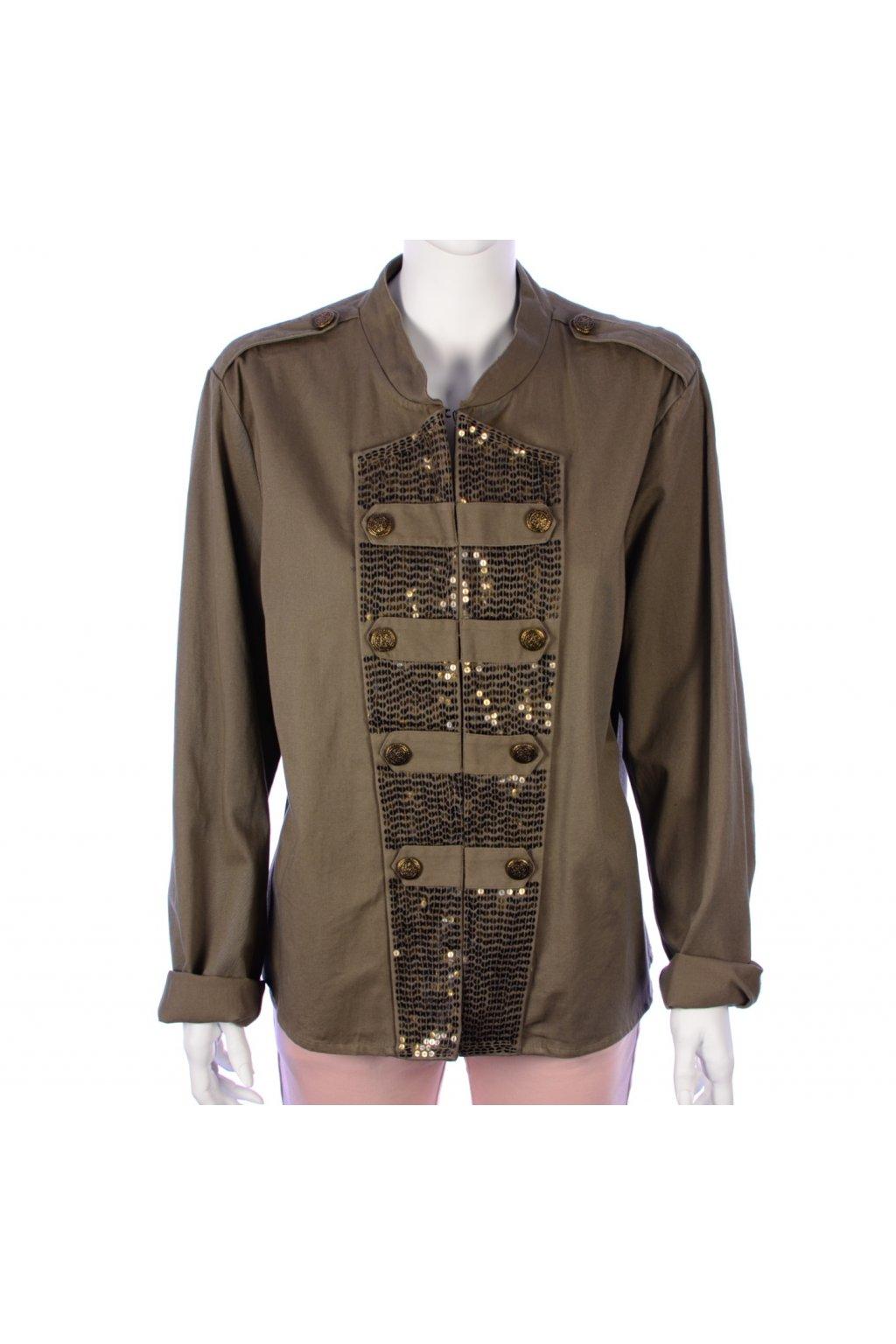 Kabátek khaki lehký s flitry Sophie Gray vel. 50 / uk 22 / XL malá vada