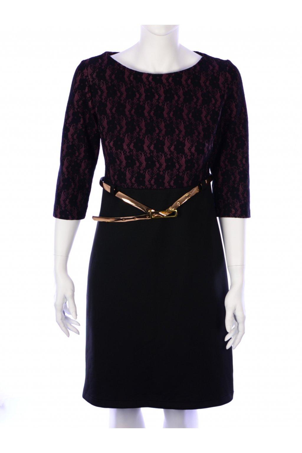 Šaty fialovo-černé s krajkou Adika vel. 40
