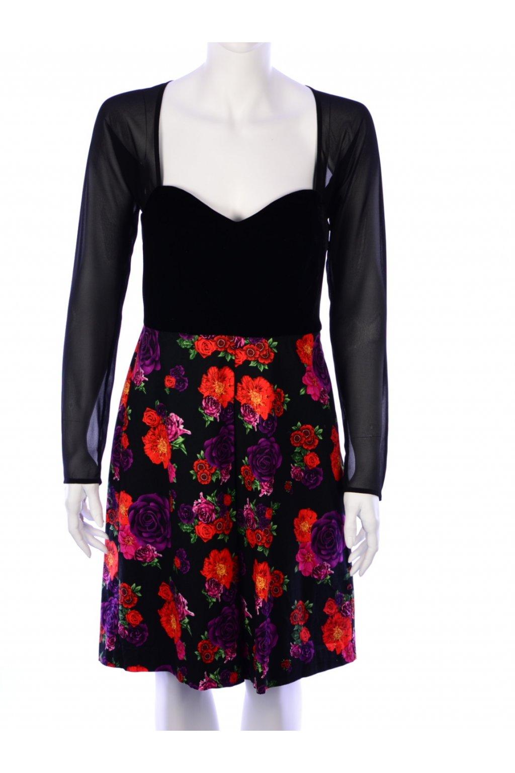 Šaty černý samet květované Peaches vel. XS - S / uk 10