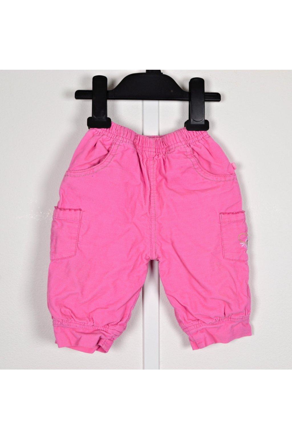 kalhoty manšestrové Okay 68 s podšívkou růžové