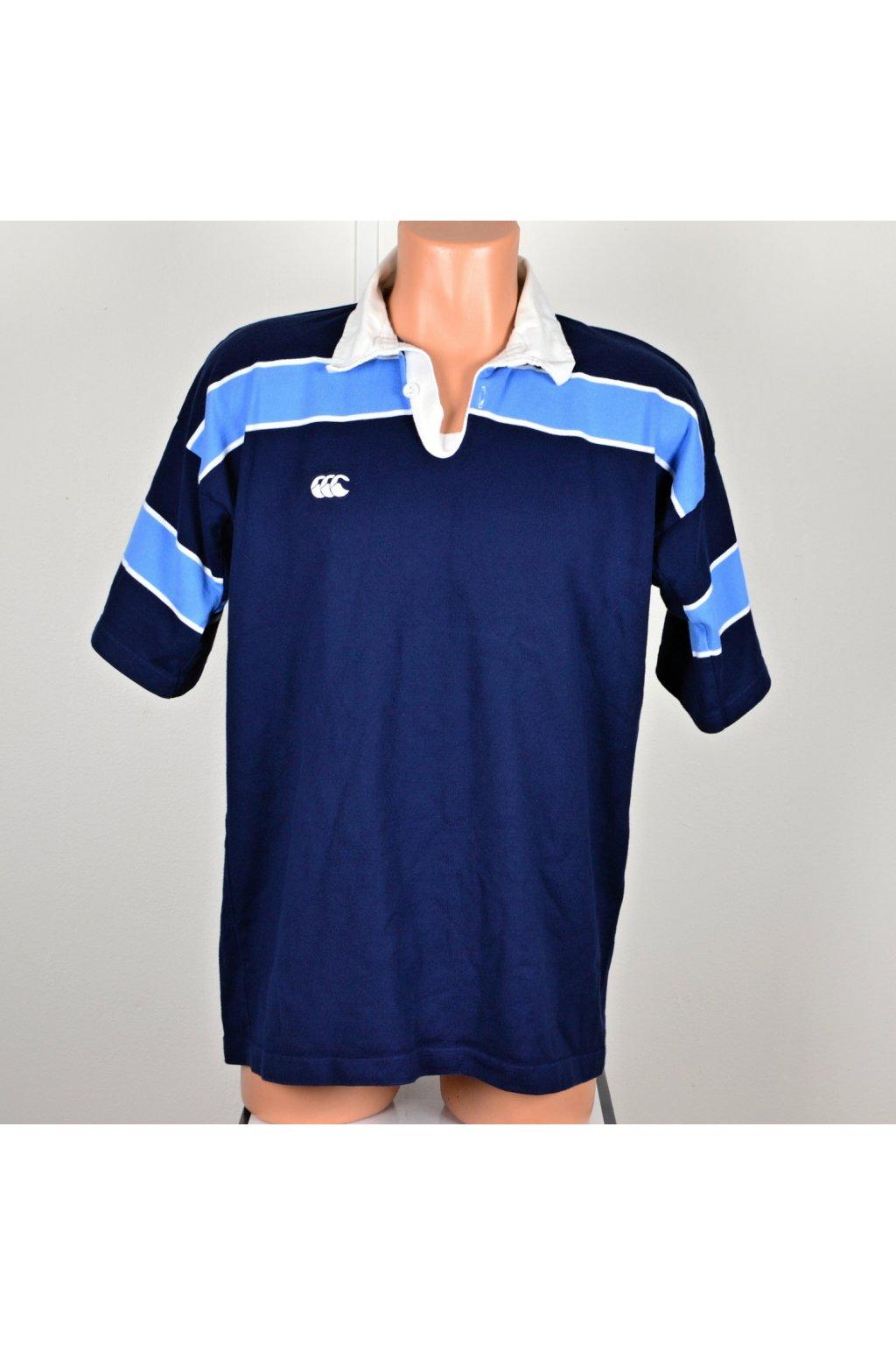 Polo tričko vel L modré bílý límeček