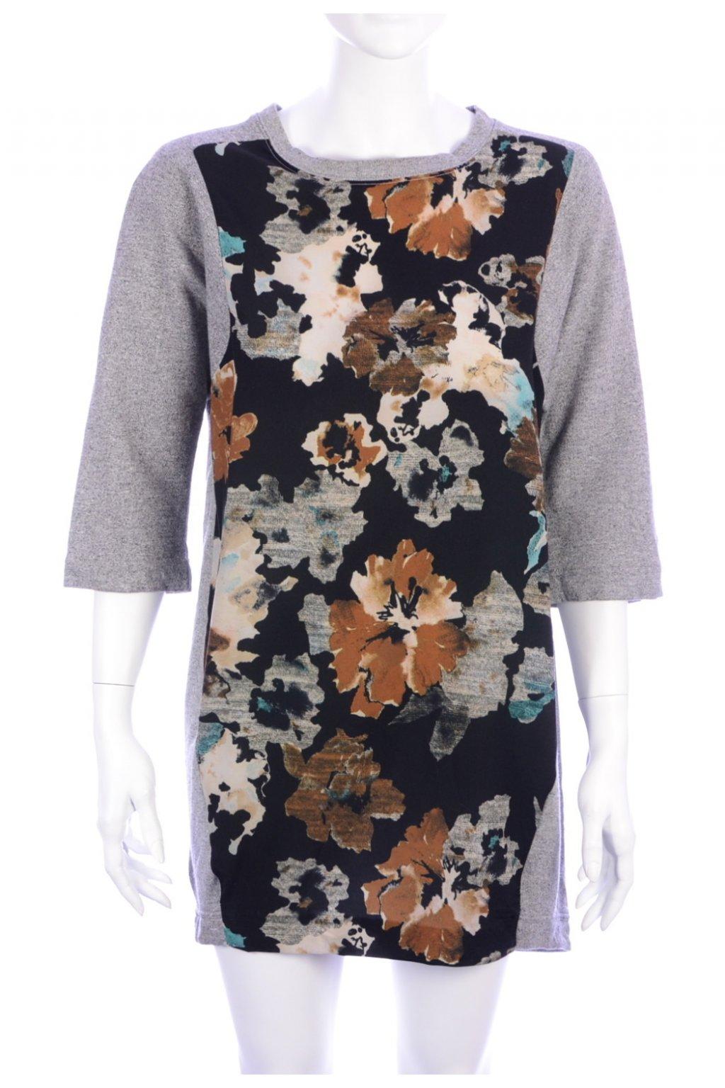 Šaty dlouhá mikina šedo-barevné vel M