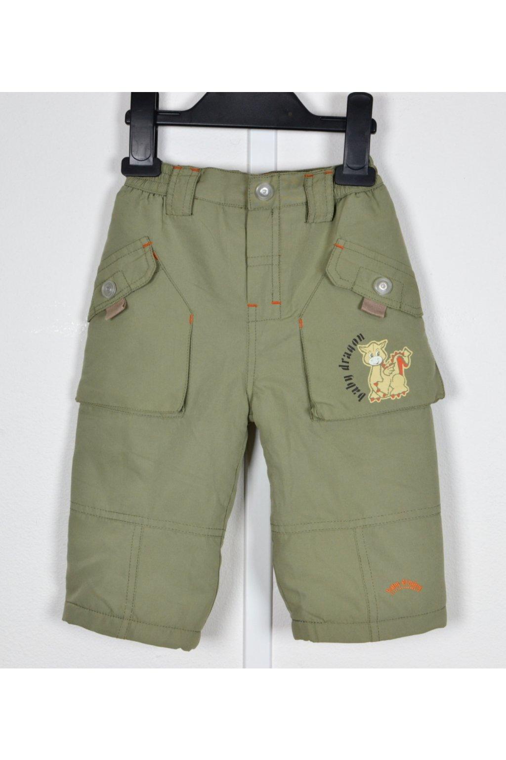 Kalhoty zimní zateplené vel 74 zelené khaki