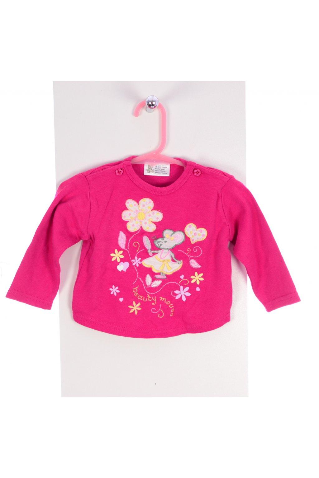 Tričko vel 74/6-9 měs růžové s myškou