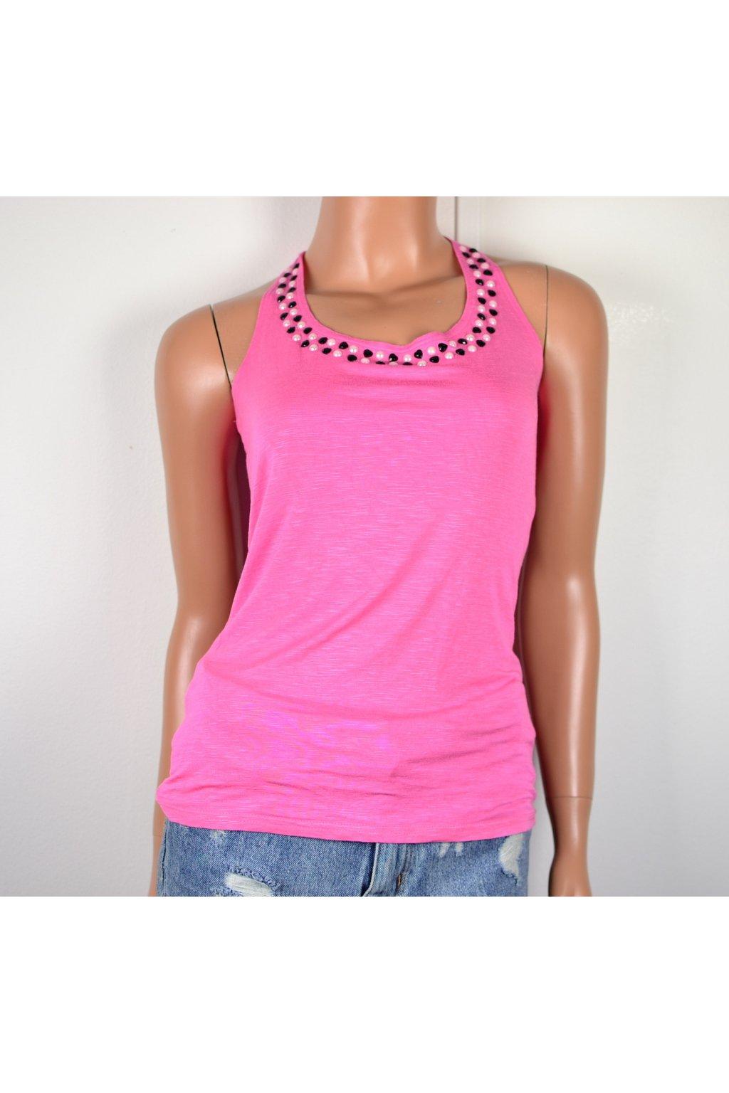 Tílko tričko Takko vel S růžové s ozdobou