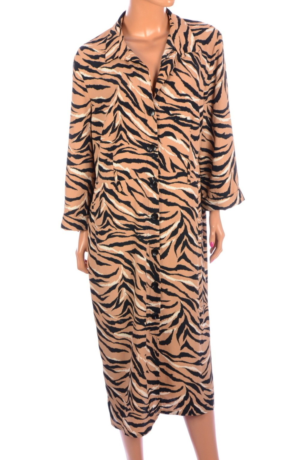 Šaty hnědé Primark zvířecí vzor vel. 48 / uk 20 /  L - XL
