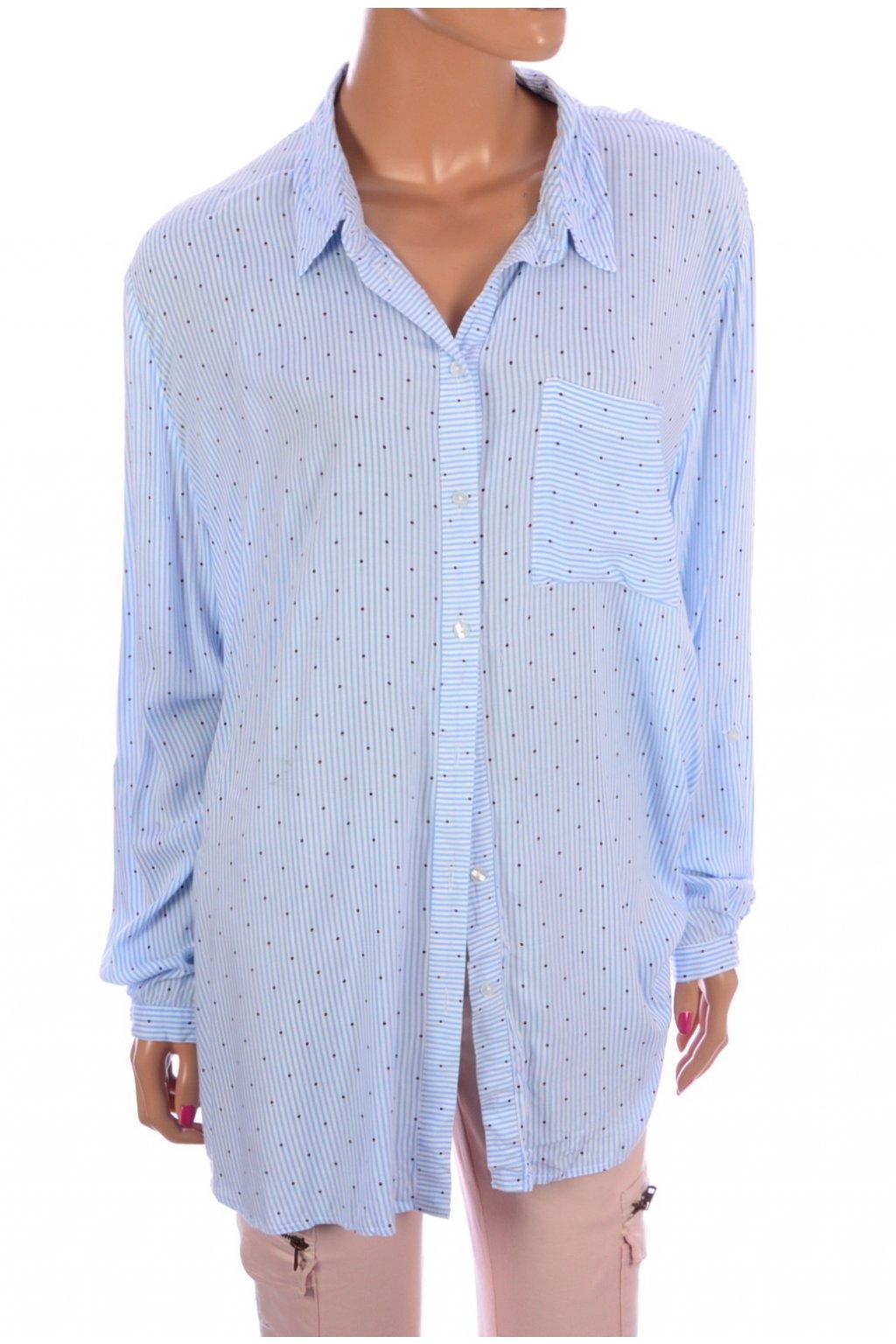 Halenka košile modrý proužek s puntíky F&F vel. 48 / uk 20 / XL