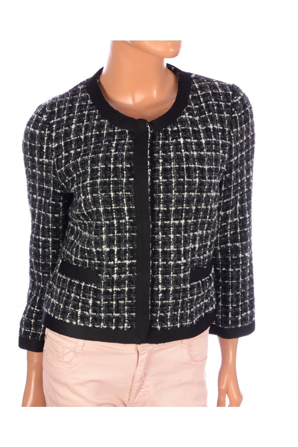 Kabát sako krátké H&M vel. M černo-bílý melanž