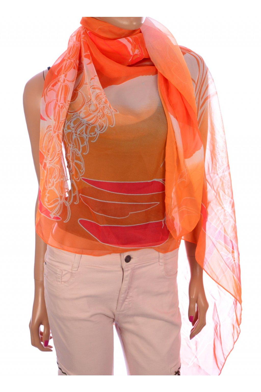 Šátek Pareo oranžový vzorovaný