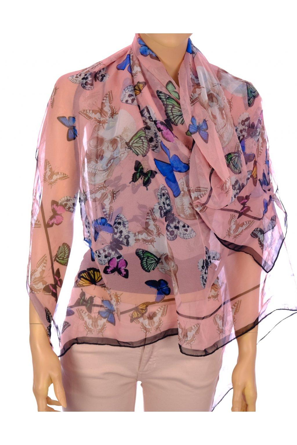 Šátek růžový s motýly a lebkami
