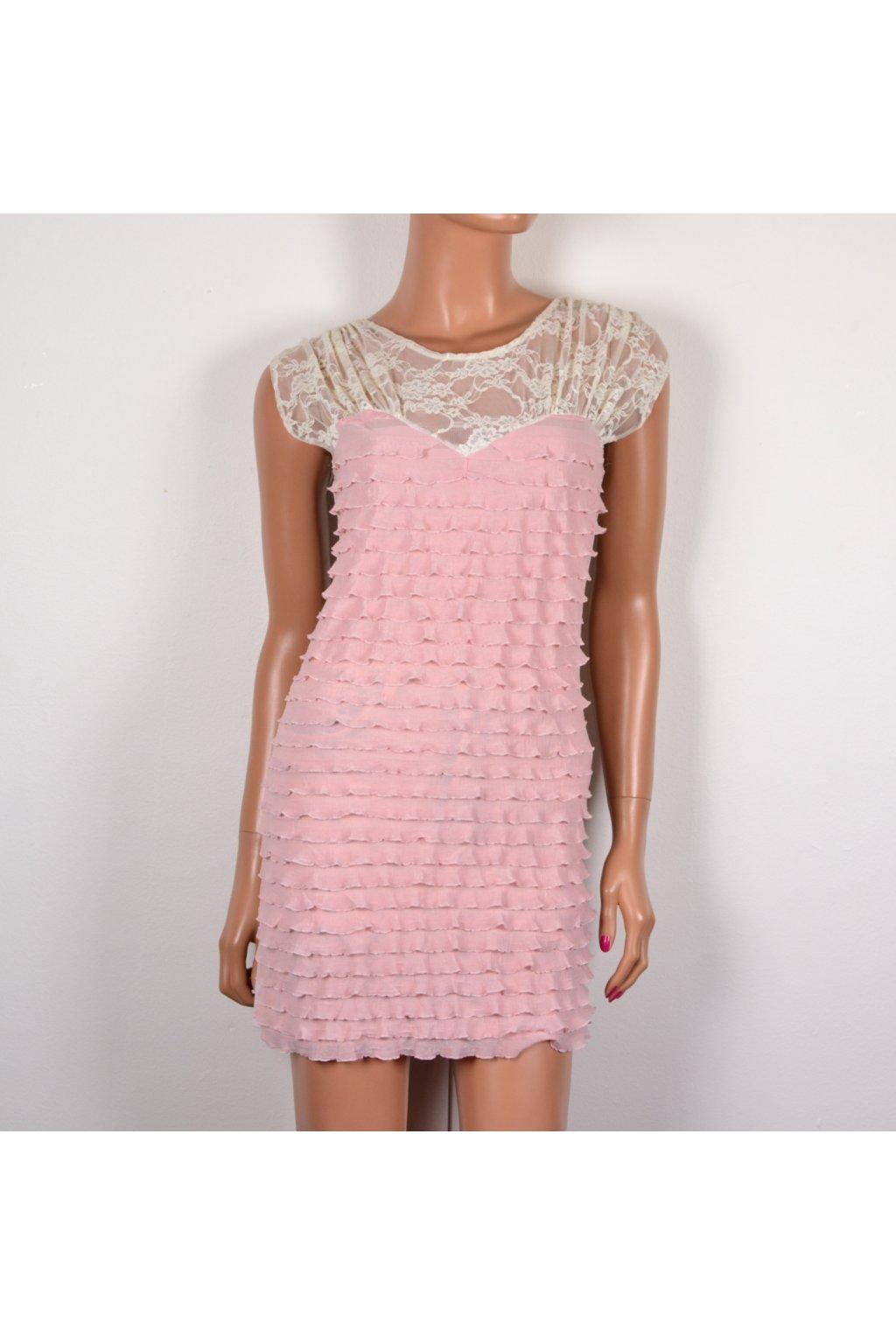 Šaty Hearts & Bows vel S růžové s krajkou