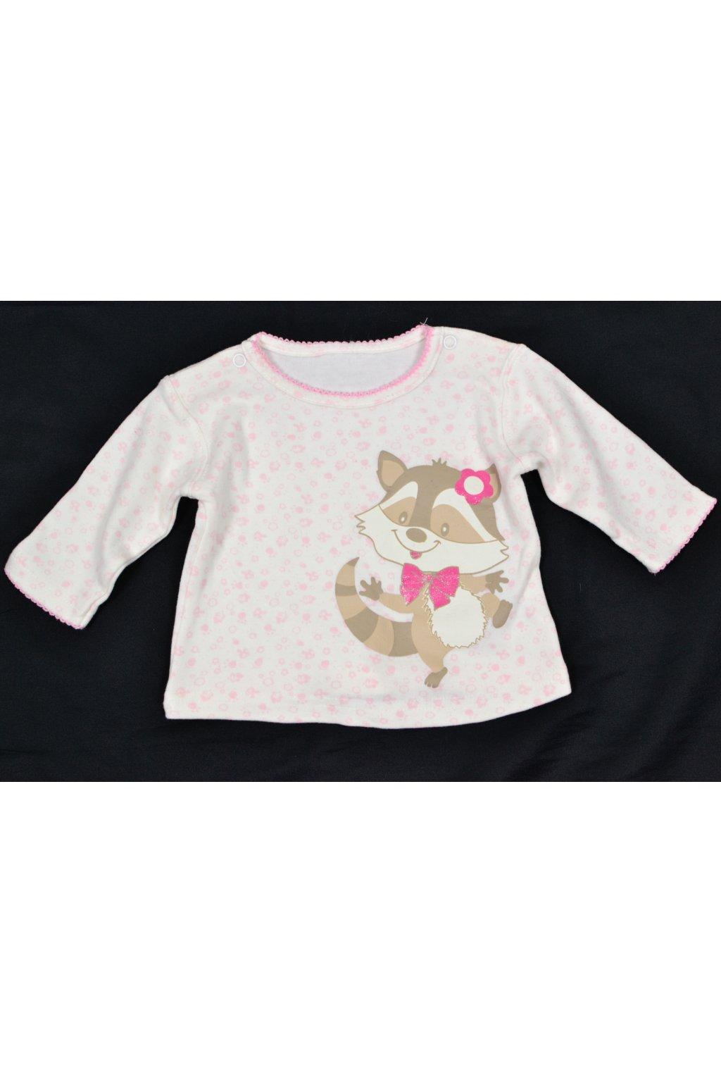 Tričko Ergee 0-3M bílo růžové s obrázkem