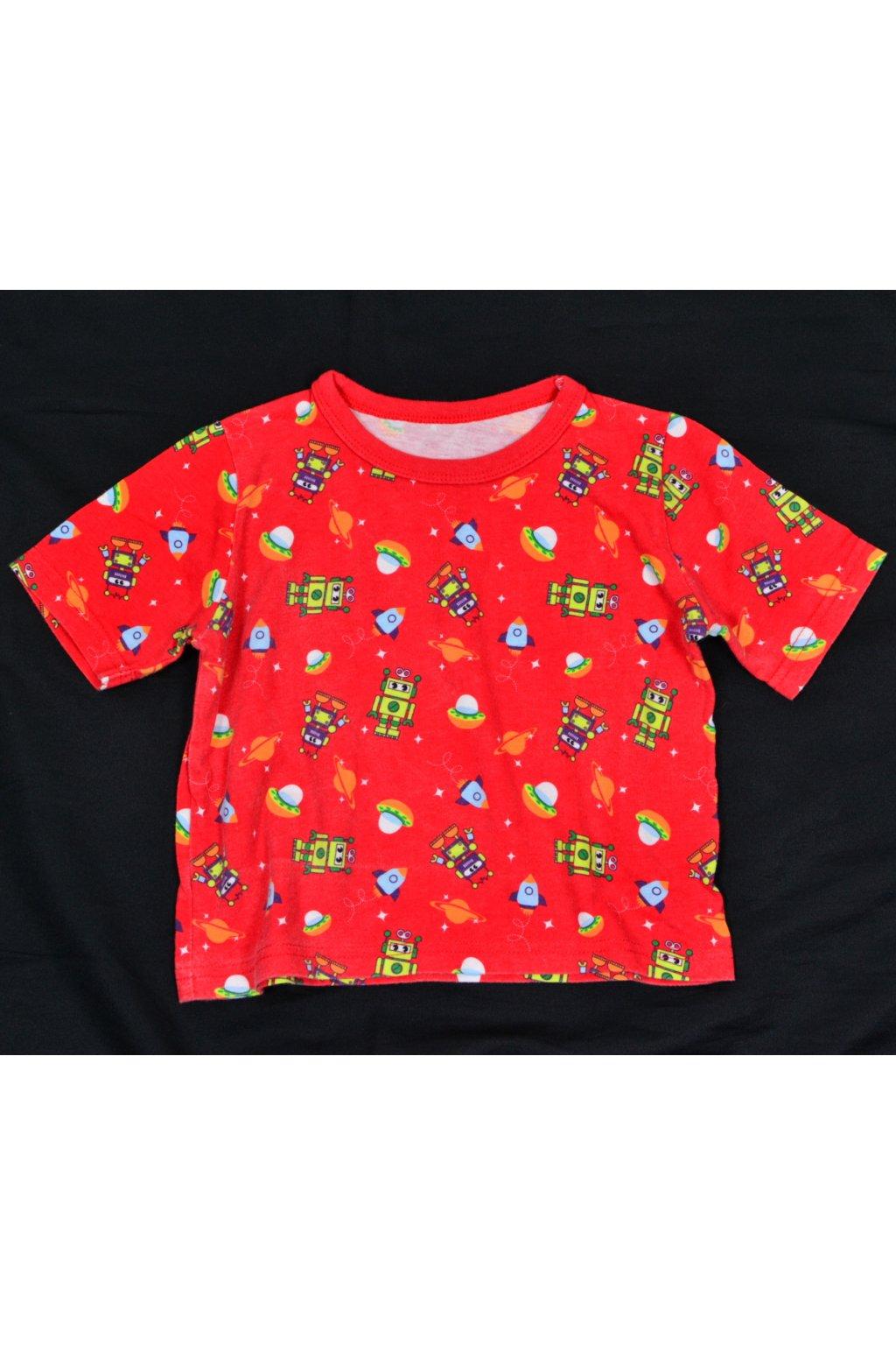 Tričko George 80-86 červené roboti krátký rukáv