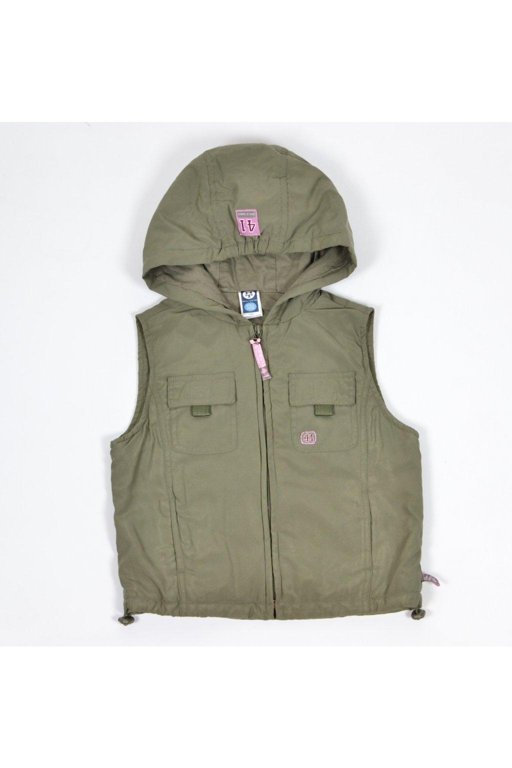 Bunda vesta přechodní C&A 140/9-10 khaki zelená