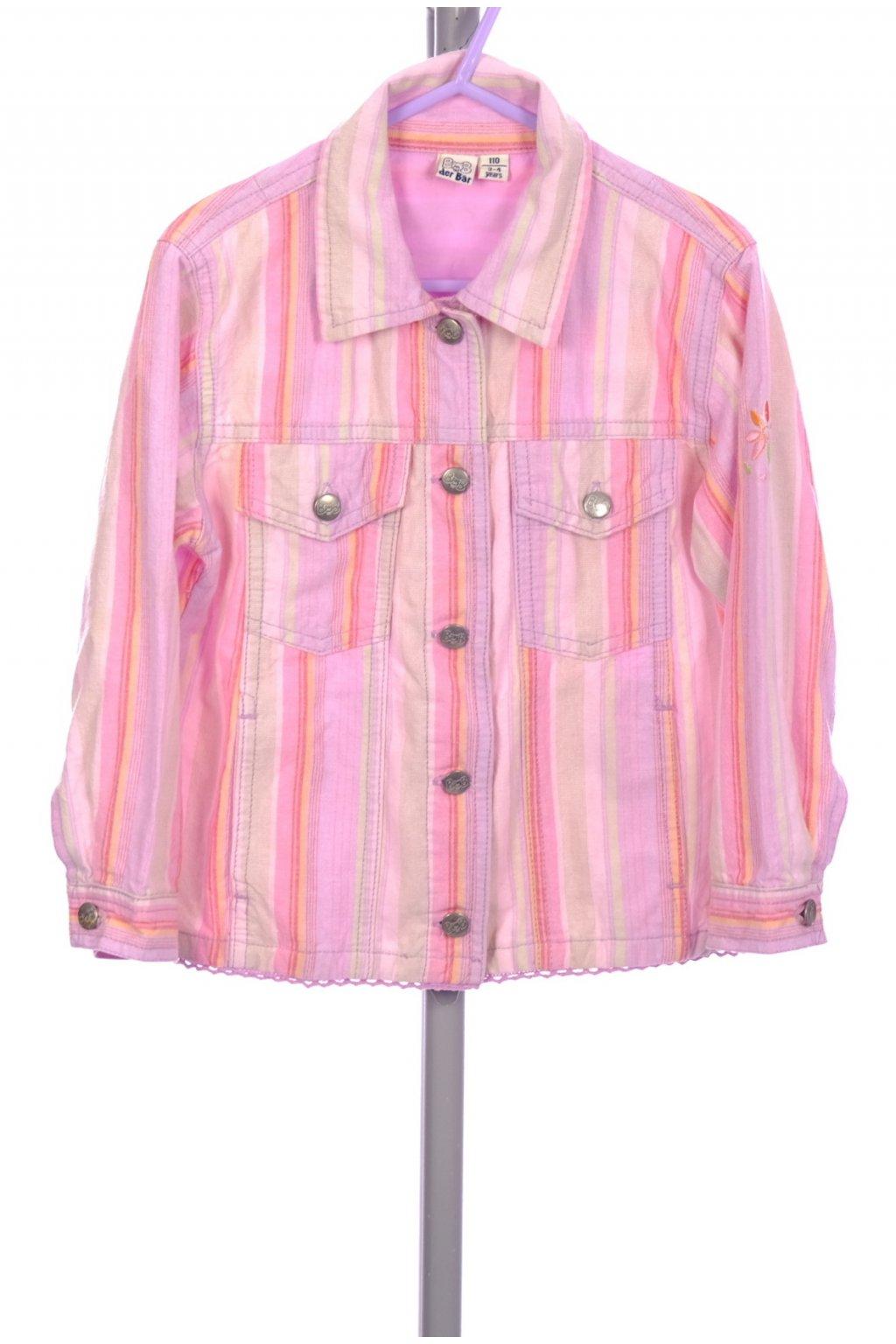 Bunda dívčí BOB der Bar růžová pruhovaná na knoflíky vel. 104 / 3 - 4 r