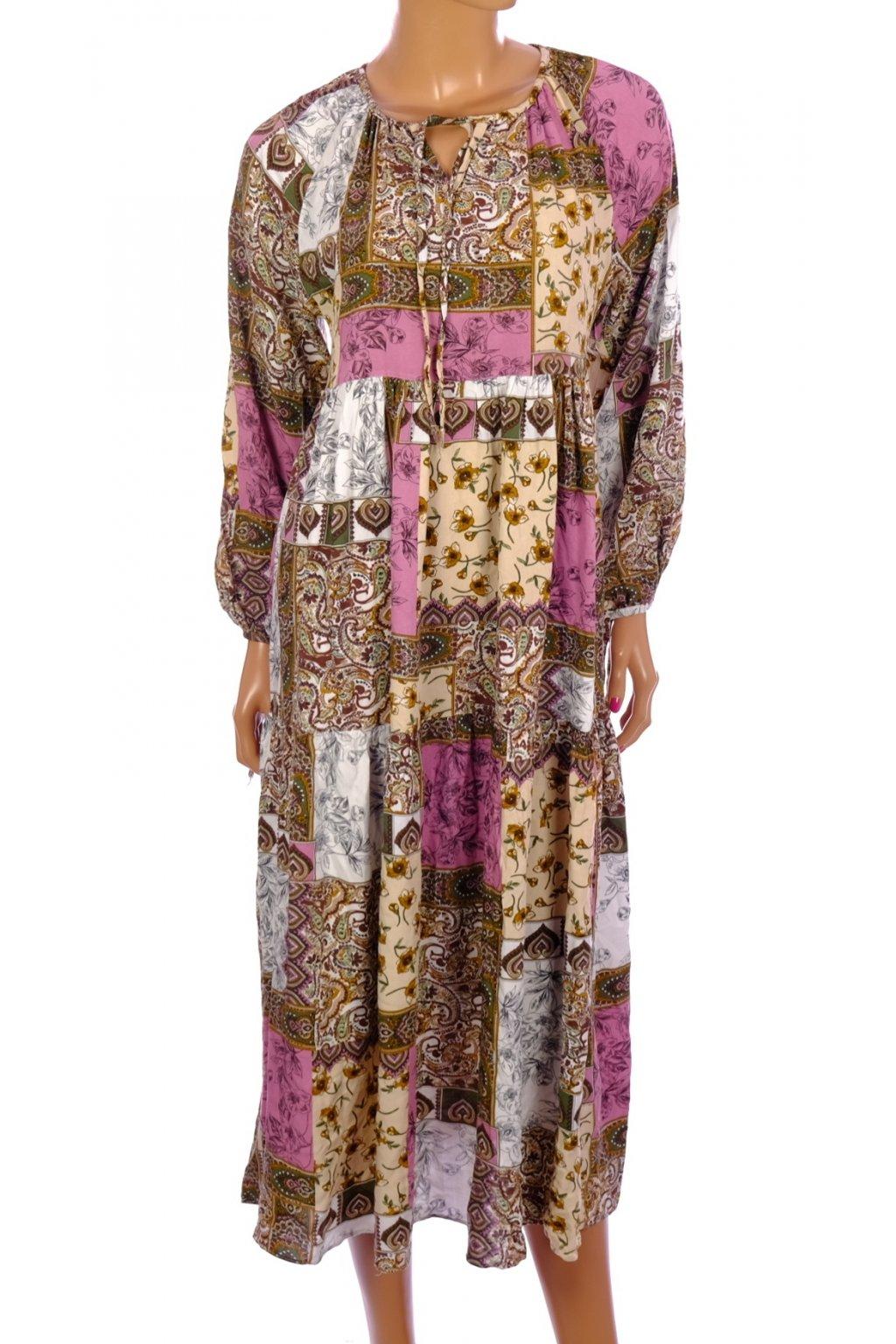 Šaty Meristore barevné vzorované dlouhé vel. 36 / S