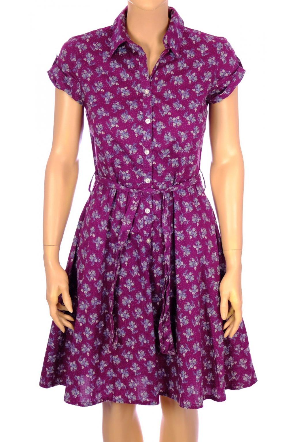 Šaty H&M fialové s květinkami vel XS-S