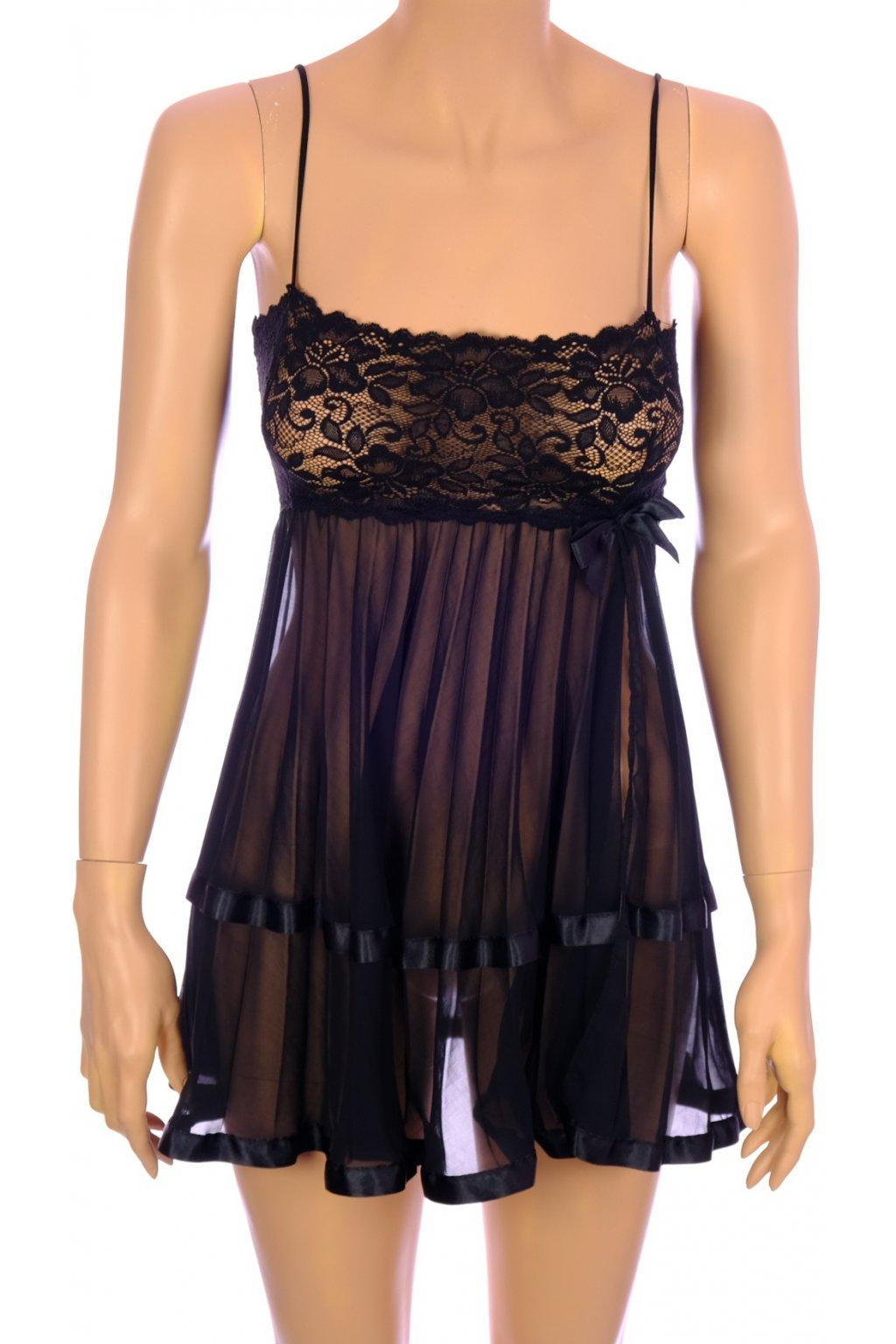 Pyžamo noční košilka Lingerie černá krajková  vel S