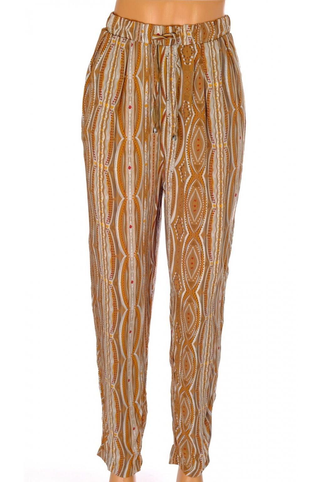 Kalhoty Esmara hnědé vzorované v pase do gumy vel S