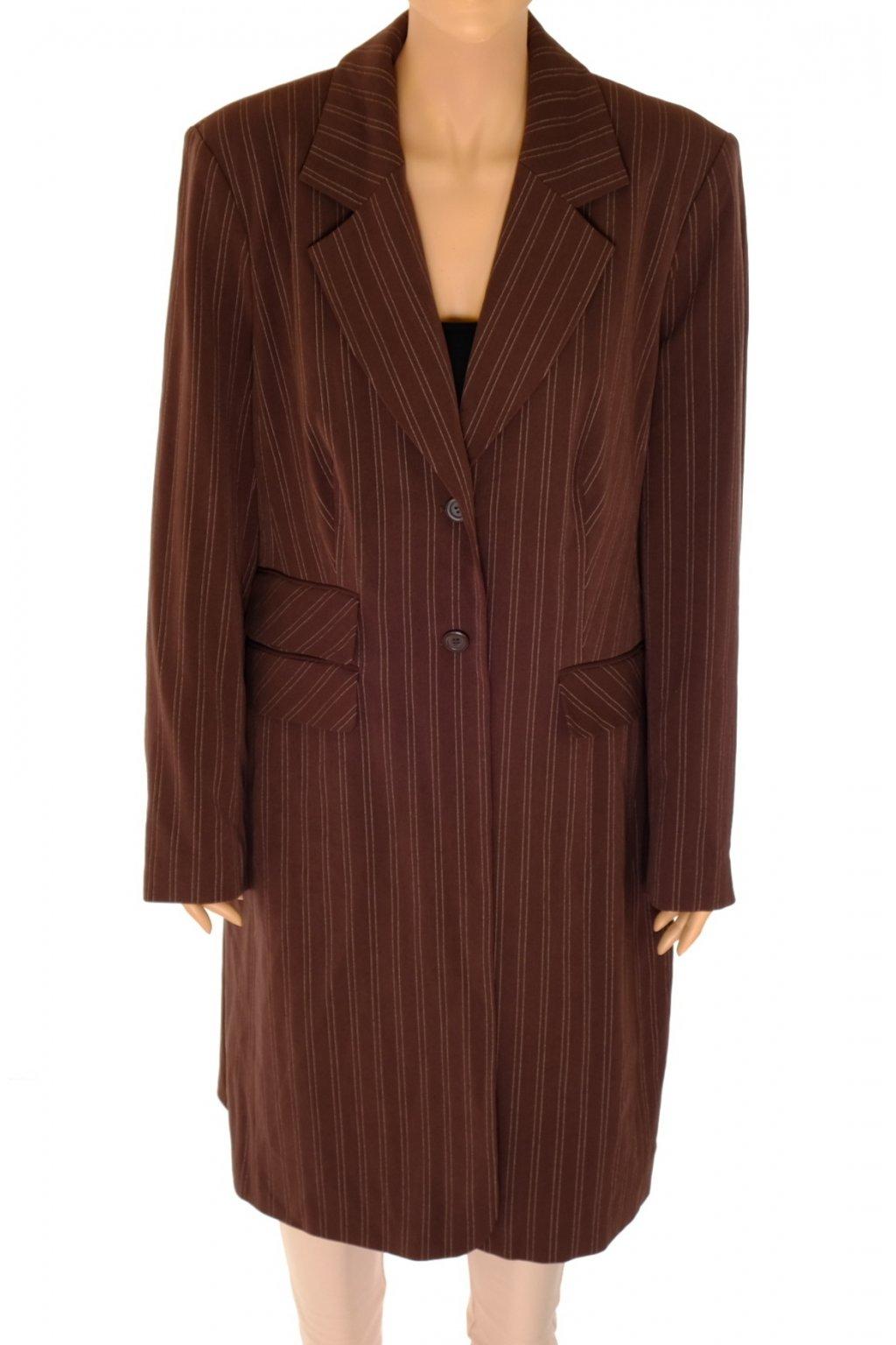 Kabát Yours hnědý světlý proužek NOVÝ S VISAČKOU vel XL