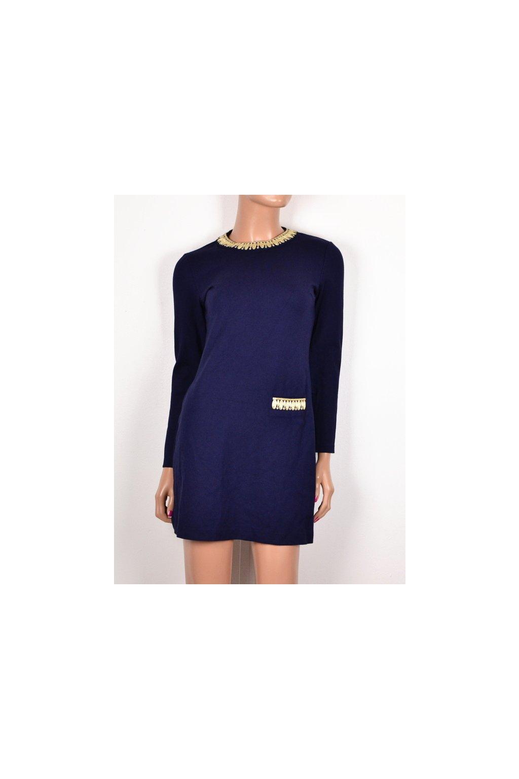 Šaty fialové se zlatým lemováním u krku vel. 34 / XS
