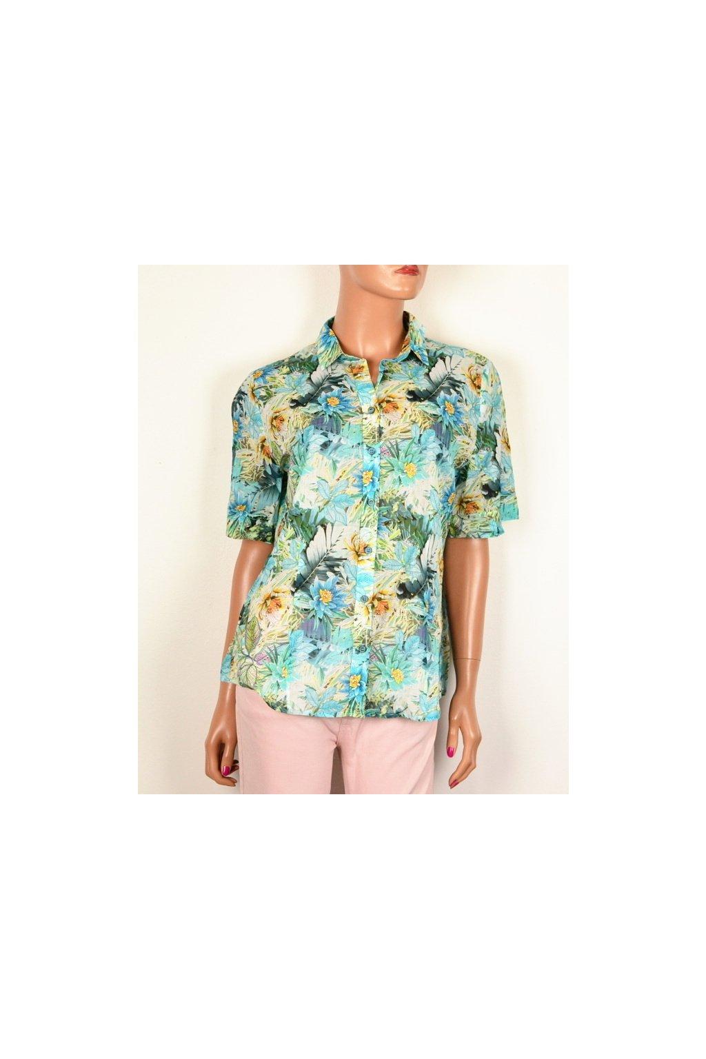 Halenka košile barevná vzor květ vel. 42 - 44 / M - L