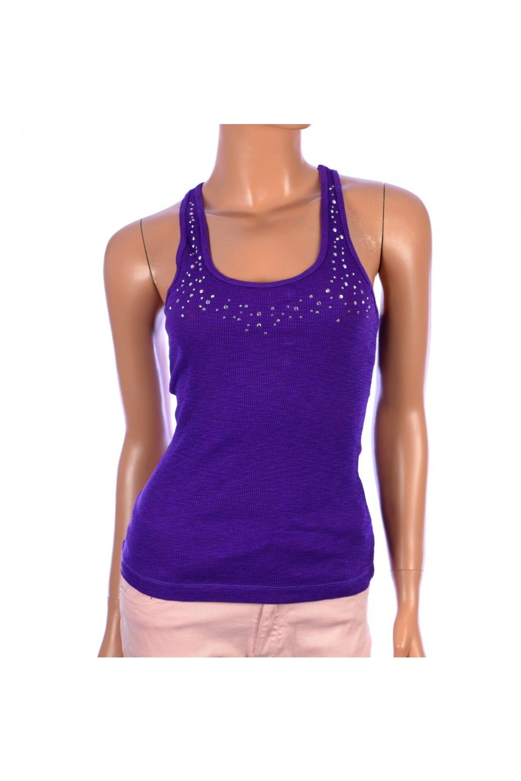 Tričko top TRF fialové s kamínky vel. M