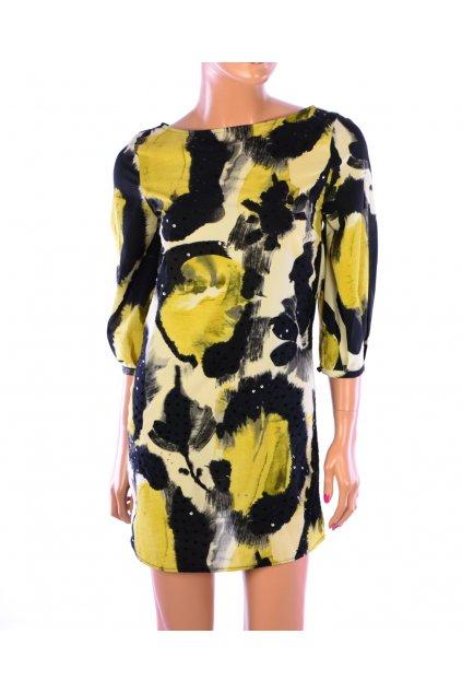 Šaty Next vel XS/34 žluto černé společenské s flitry
