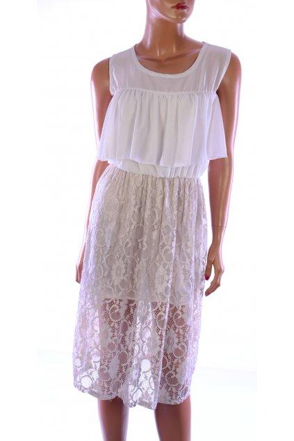 Šaty krajkové světlé vel. M