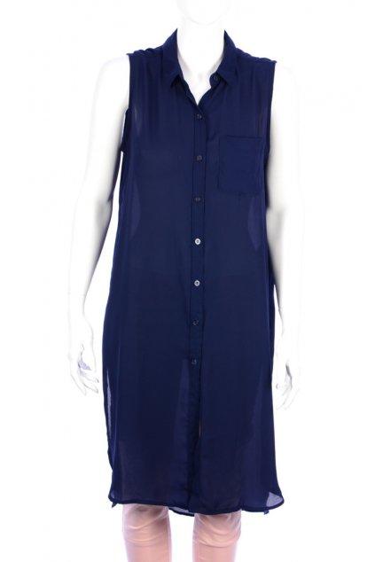 Halenka dlouhá – košilové šaty Amisu vel S tmavě modrá