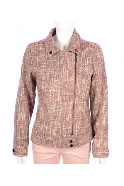 Kabátek bunda lehká růžová melanž Papaya vel. M / uk 14 vada