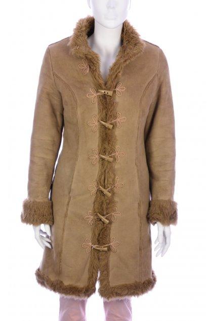 Kabát hnědý 3Suisses vel. S / uk 8 s umělým kožíškem
