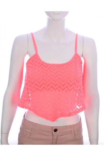 Tričko Bershka vel S/M fosforově pastelově oranžová