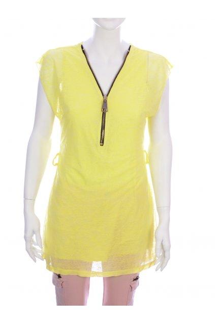 Tričko Made in Italy vel S žluté se zipsem