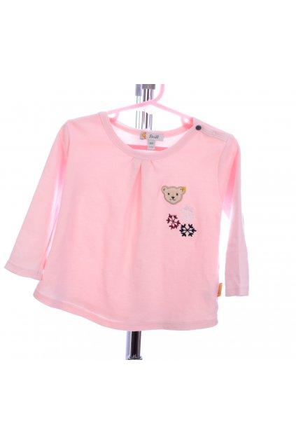 Tričko růžové s medvídkem Steiff vel. 80 / 9 - 12m