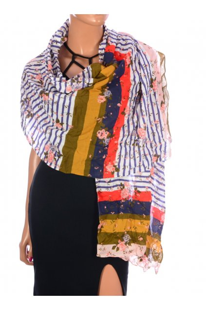 Šátek pruhovaný s květy