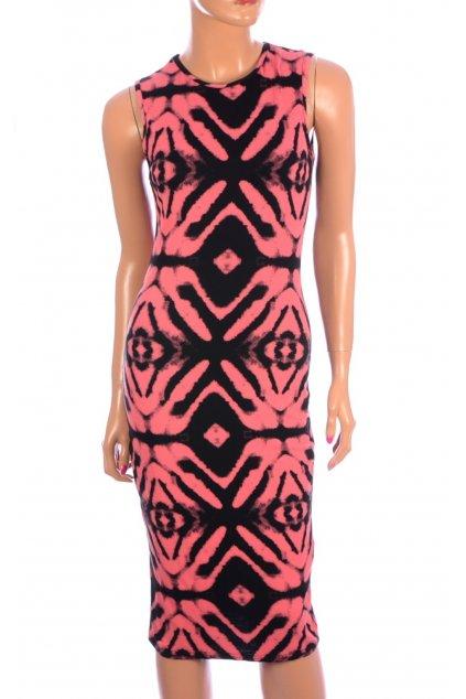 Šaty černé s růžovým batikovaným vzorem vel. 164 / 170 / 14 - 15 let